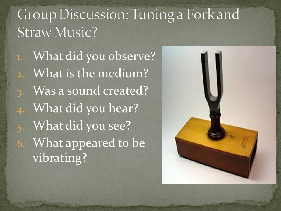 1. What did you observe? 2. What is the medium? 3. Was a sound created? 4. What did you hear? 5. What did you see? 6. What appeared to be vibrating?