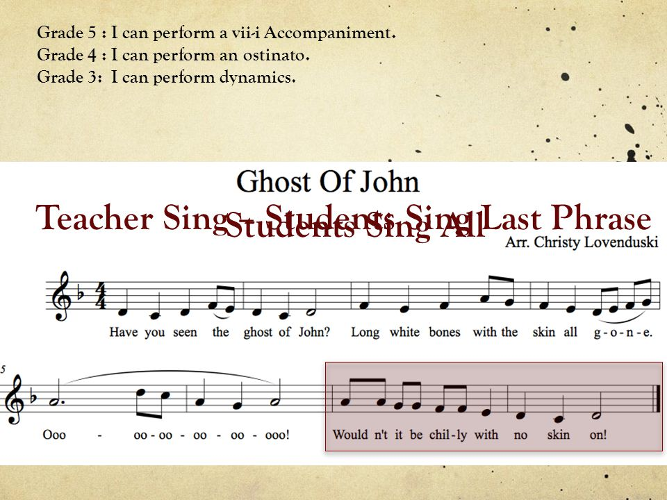 Teacher Sing – Students Sing Last Phrase Grade 5 : I can perform a vii-i Accompaniment.