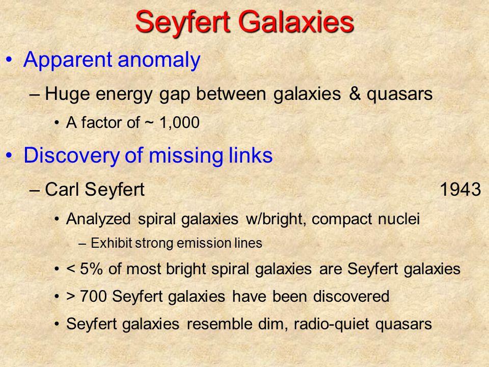 Seyfert Galaxies Apparent anomaly –Huge energy gap between galaxies & quasars A factor of ~ 1,000 Discovery of missing links –Carl Seyfert1943 Analyze