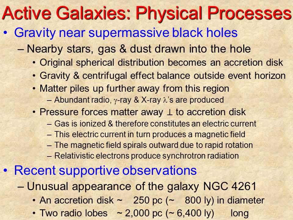 Active Galaxies: Physical Processes Gravity near supermassive black holes –Nearby stars, gas & dust drawn into the hole Original spherical distributio