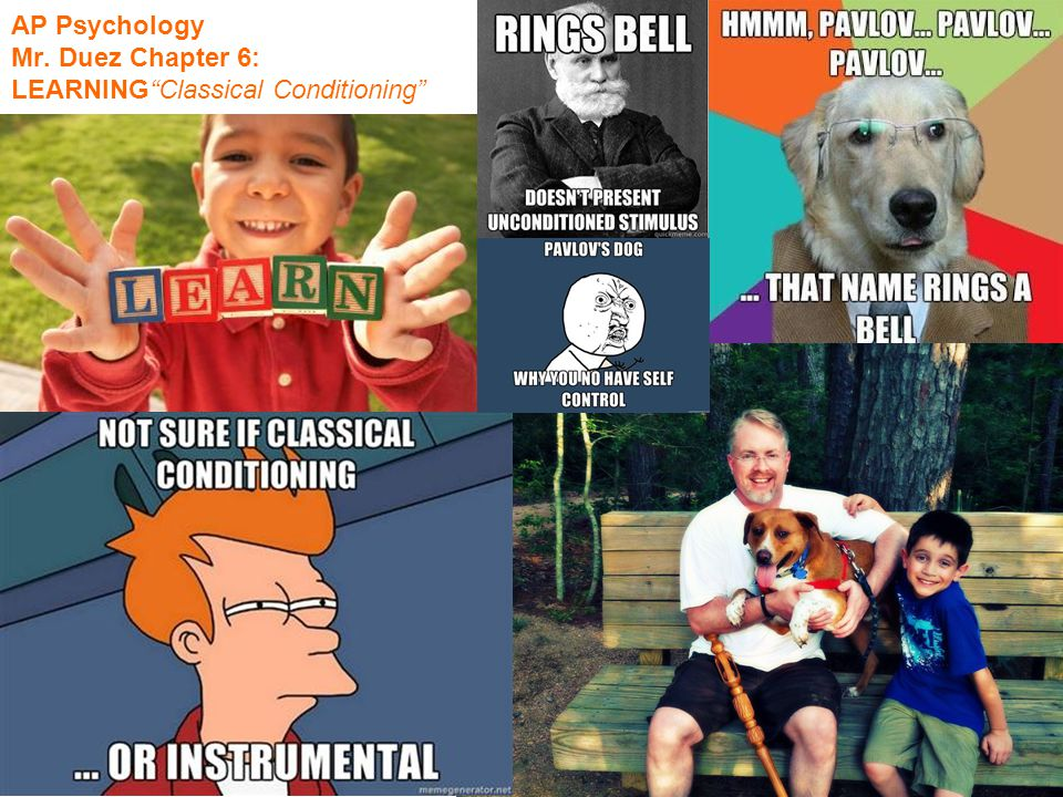 """AP Psychology Mr. Duez Chapter 6: LEARNING""""Classical Conditioning"""""""