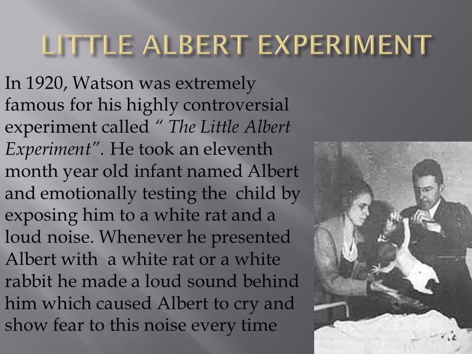 "In 1920, Watson was extremely famous for his highly controversial experiment called "" The Little Albert Experiment"". He took an eleventh month year ol"