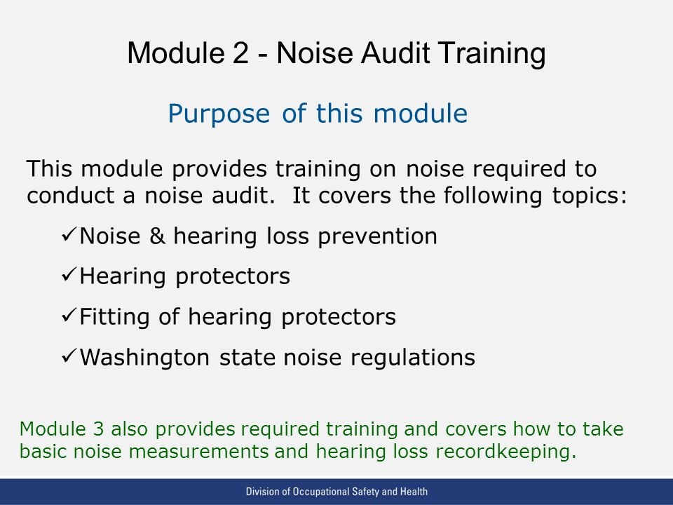 VPP: The Standard of Excellence in Workplace Safety and Health Module 2 - Noise Audit Training Purpose of this module This module provides training on noise required to conduct a noise audit.