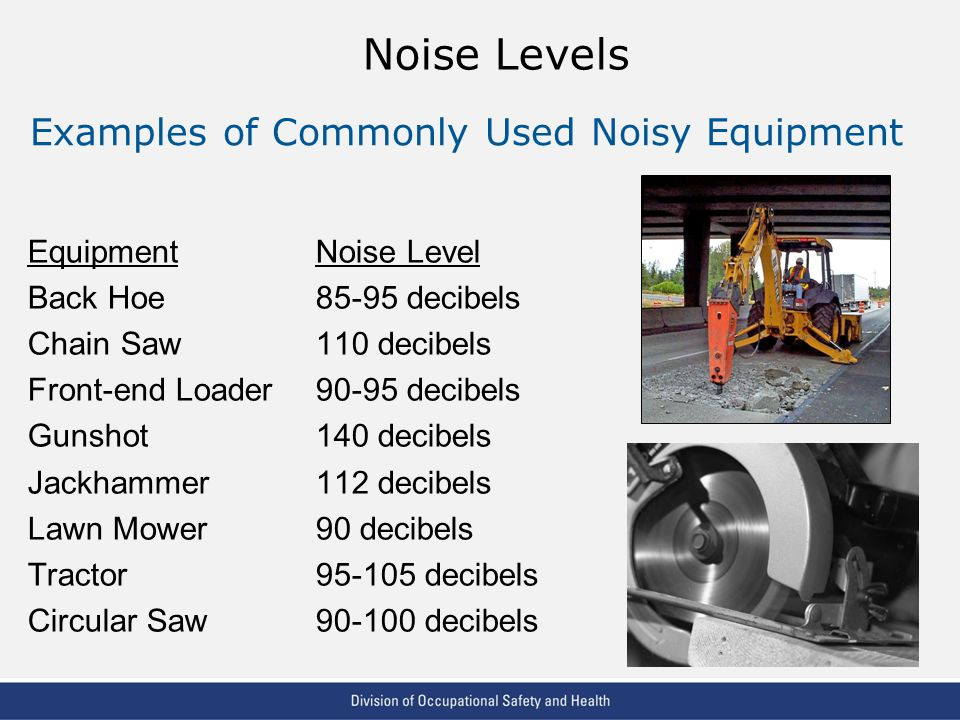 VPP: The Standard of Excellence in Workplace Safety and Health Noise Levels EquipmentNoise Level Back Hoe85-95 decibels Chain Saw110 decibels Front-end Loader90-95 decibels Gunshot140 decibels Jackhammer112 decibels Lawn Mower90 decibels Tractor95-105 decibels Circular Saw90-100 decibels Examples of Commonly Used Noisy Equipment