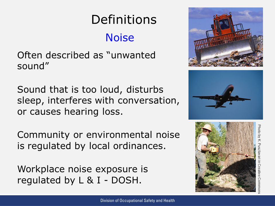 VPP: The Standard of Excellence in Workplace Safety and Health Definitions Noise Often described as unwanted sound Sound that is too loud, disturbs sleep, interferes with conversation, or causes hearing loss.