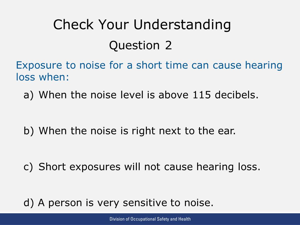 VPP: The Standard of Excellence in Workplace Safety and Health Check Your Understanding Exposure to noise for a short time can cause hearing loss when: a)When the noise level is above 115 decibels.