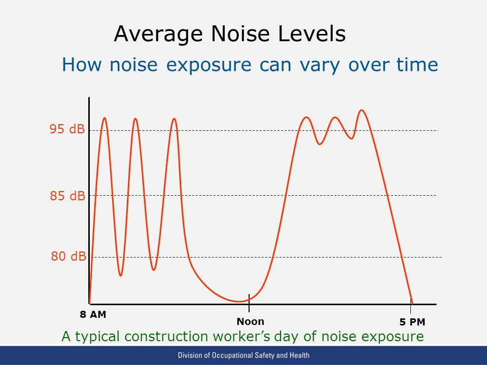 VPP: The Standard of Excellence in Workplace Safety and Health Average Noise Levels 95 dB 85 dB 80 dB 8 AM Noon 5 PM How noise exposure can vary over time A typical construction worker's day of noise exposure