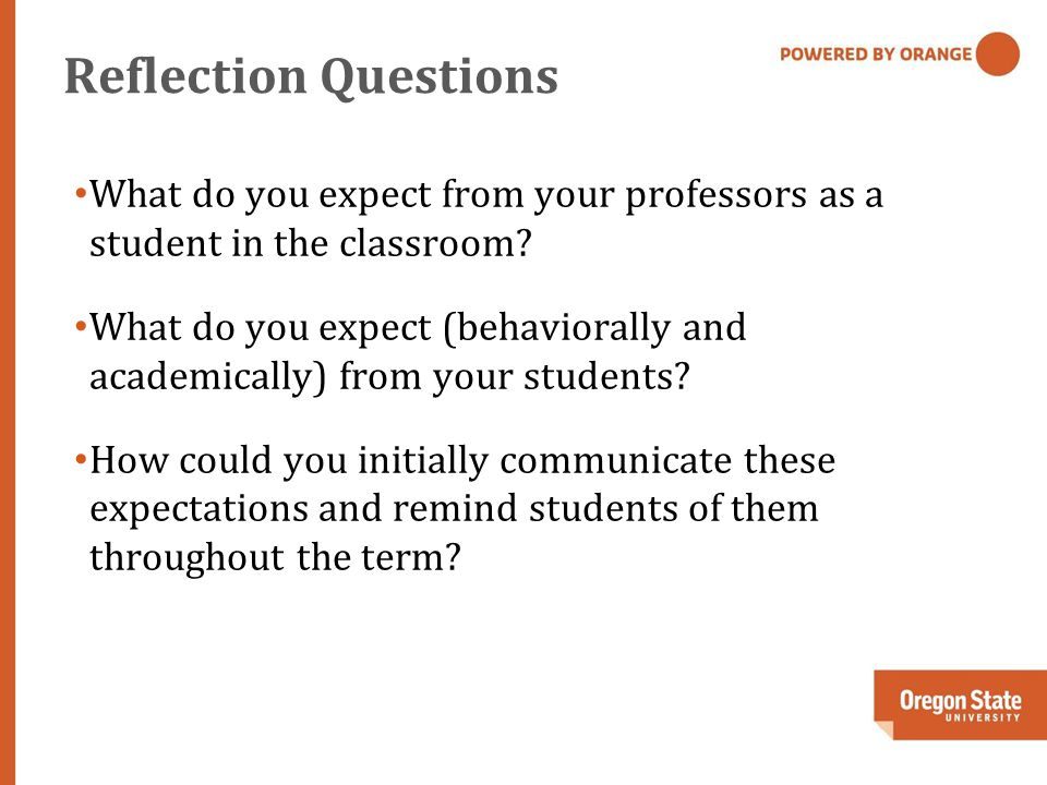 Reflection Questions What do you expect from your professors as a student in the classroom.