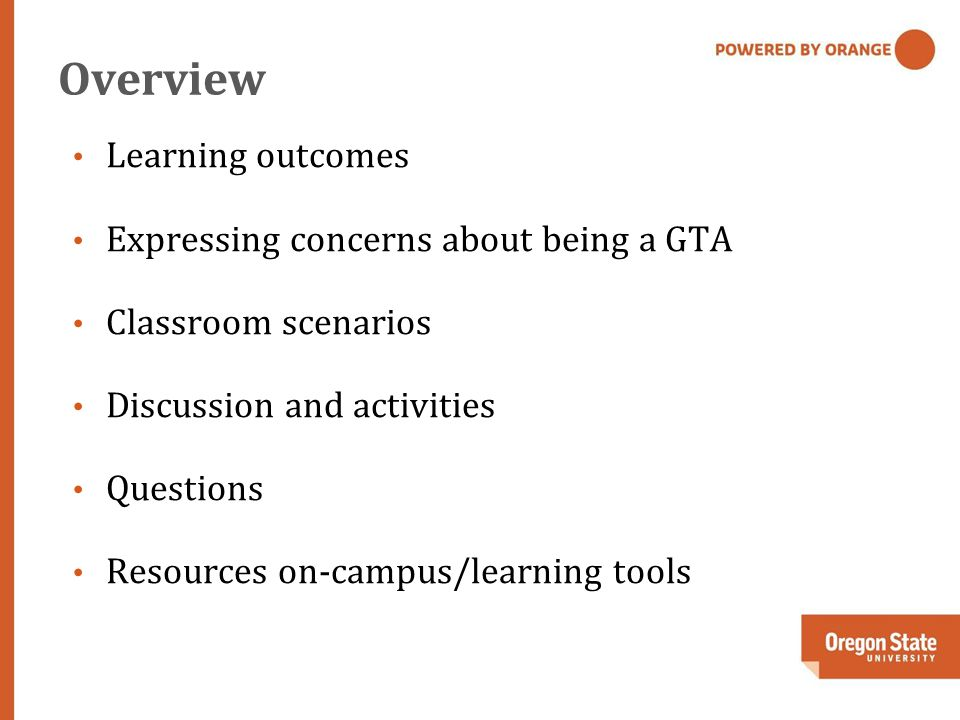 Overview Learning outcomes Expressing concerns about being a GTA Classroom scenarios Discussion and activities Questions Resources on-campus/learning tools