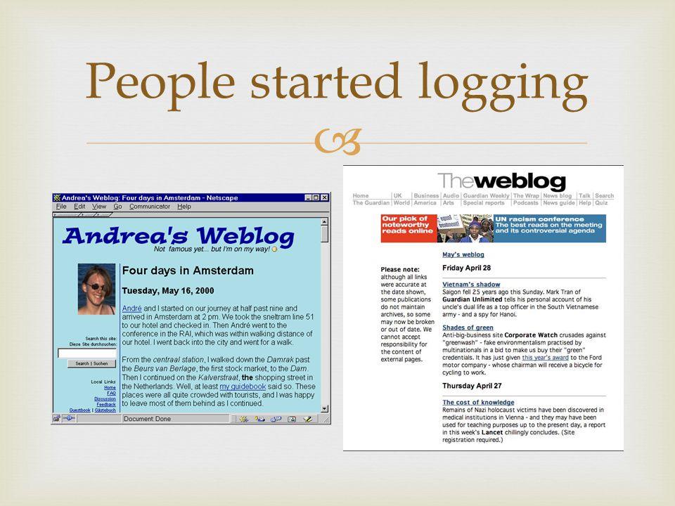  People started logging