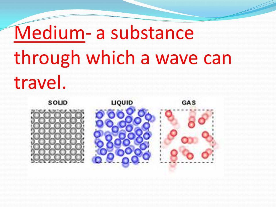 Medium- a substance through which a wave can travel.
