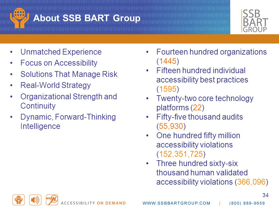 34 About SSB BART Group Unmatched Experience Focus on Accessibility Solutions That Manage Risk Real-World Strategy Organizational Strength and Continuity Dynamic, Forward-Thinking Intelligence Fourteen hundred organizations (1445) Fifteen hundred individual accessibility best practices (1595) Twenty-two core technology platforms (22) Fifty-five thousand audits (55,930) One hundred fifty million accessibility violations (152,351,725) Three hundred sixty-six thousand human validated accessibility violations (366,096)