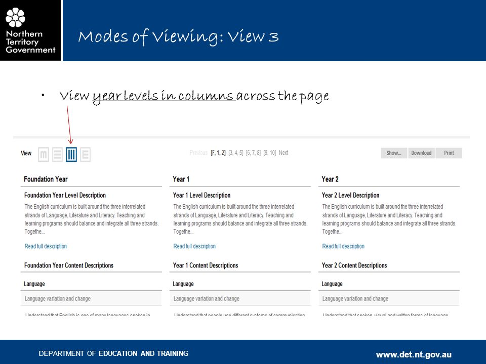 DEPARTMENT OF EDUCATION AND TRAINING www.det.nt.gov.au Modes of Viewing: View 3 View year levels in columns across the page
