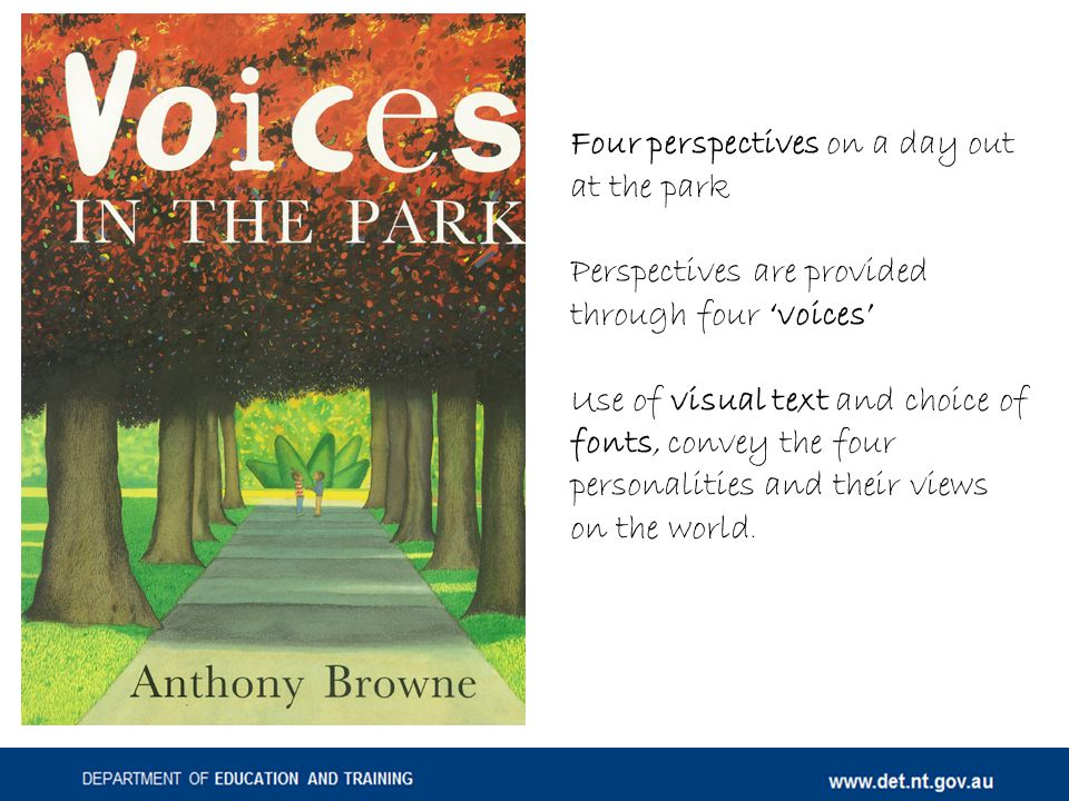 Four perspectives on a day out at the park Perspectives are provided through four 'voices' Use of visual text and choice of fonts, convey the four personalities and their views on the world.