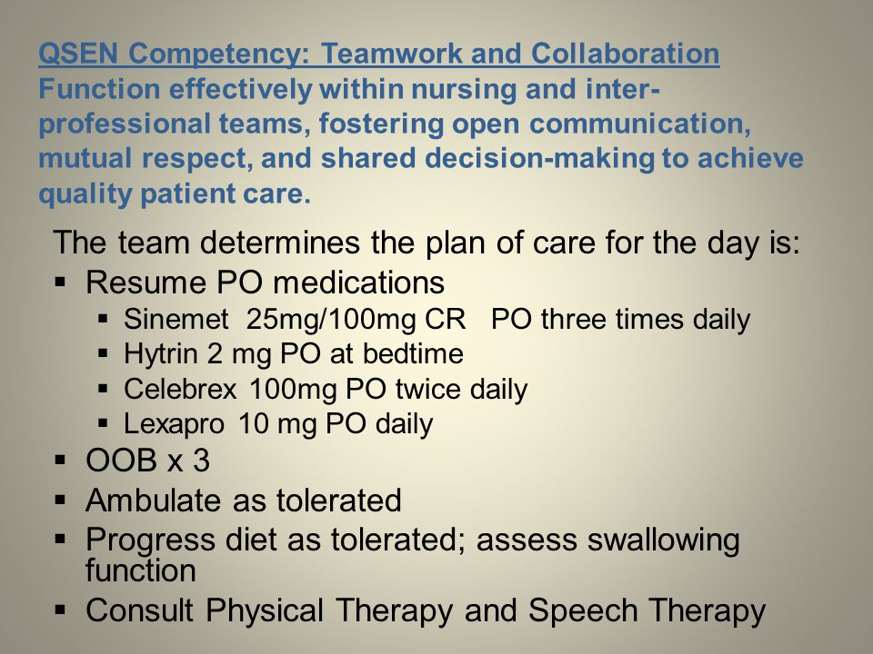 QSEN Competency: Teamwork and Collaboration Function effectively within nursing and inter- professional teams, fostering open communication, mutual re