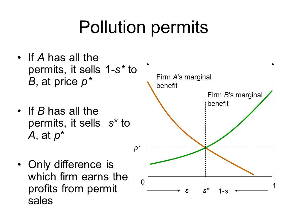 Pollution permits If A has all the permits, it sells 1-s* to B, at price p* If B has all the permits, it sells s* to A, at p* Only difference is which