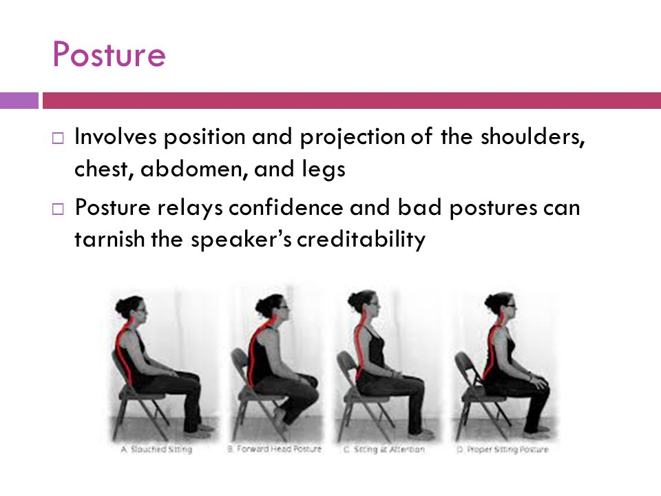 Posture  Involves position and projection of the shoulders, chest, abdomen, and legs  Posture relays confidence and bad postures can tarnish the spe