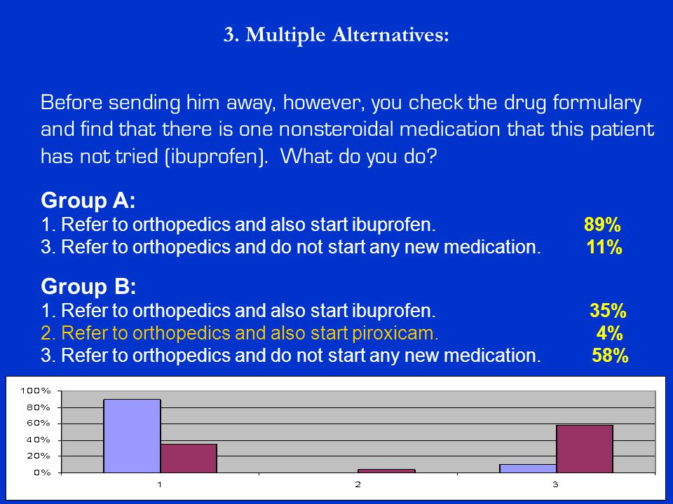 3. Multiple Alternatives: Group B: 1. Refer to orthopedics and also start ibuprofen. 35% 2. Refer to orthopedics and also start piroxicam. 4% 3. Refer