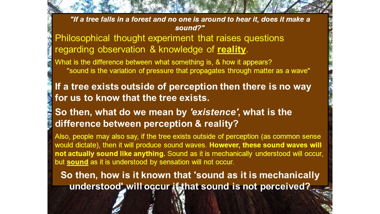 If a tree falls in a forest and no one is around to hear it, does it make a sound Philosophical thought experiment that raises questions regarding observation & knowledge of reality.
