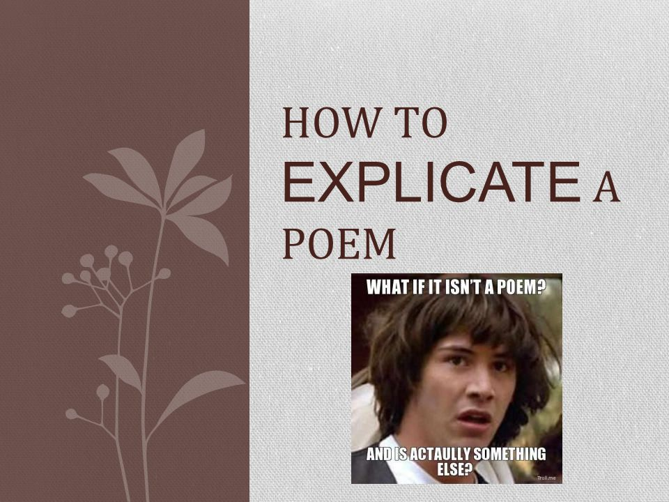 OBJECTIVES A poem can have a number of different pieces that you need to look at closely in order to complete the poetic puzzle An explication is simply an explanation of how all the elements in a poem work together to achieve the total meaning and effect.