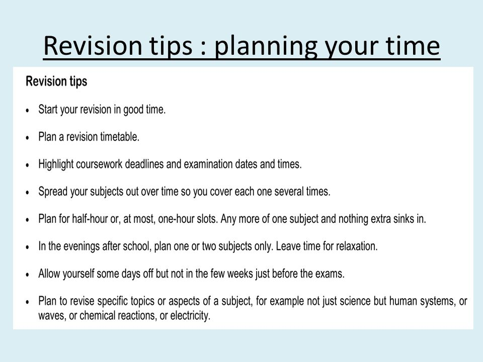 Revision tips : planning your time