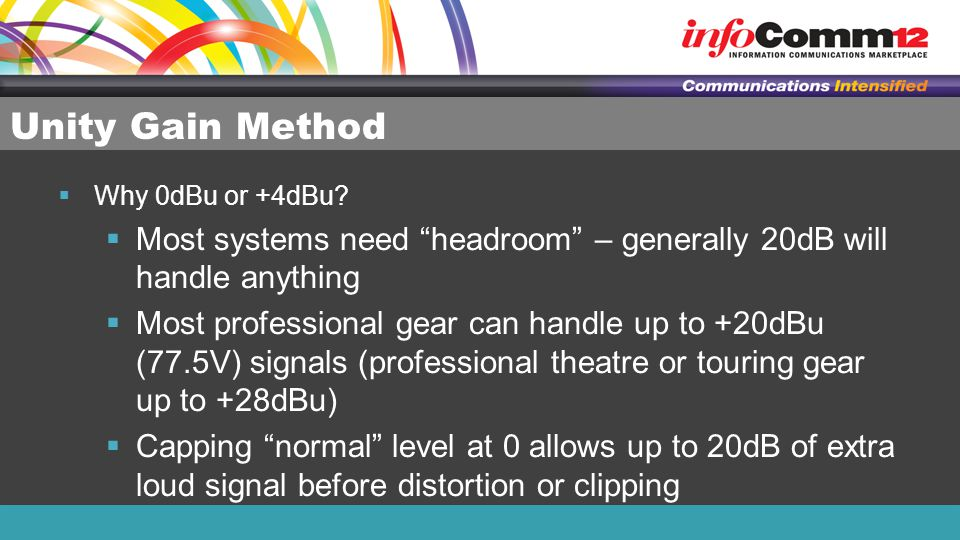"""Unity Gain Method  Why 0dBu or +4dBu?  Most systems need """"headroom"""" – generally 20dB will handle anything  Most professional gear can handle up to"""