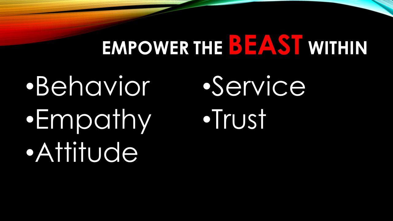 EMPOWER THE BEAST WITHIN Behavior Empathy Attitude Service Trust