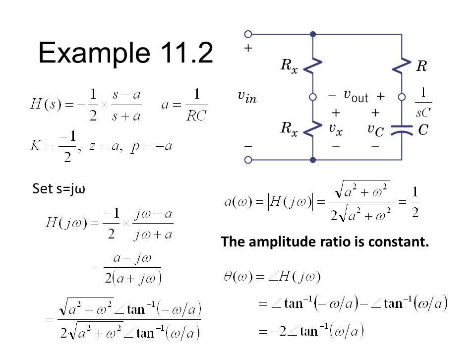 Example 11.2 Assume C=1/aR Find Network Function a=1/RC