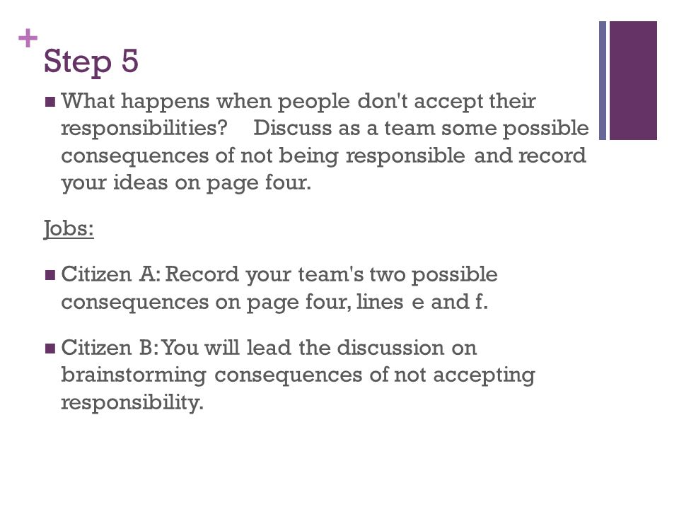 + Step 5 What happens when people don't accept their responsibilities? Discuss as a team some possible consequences of not being responsible and recor