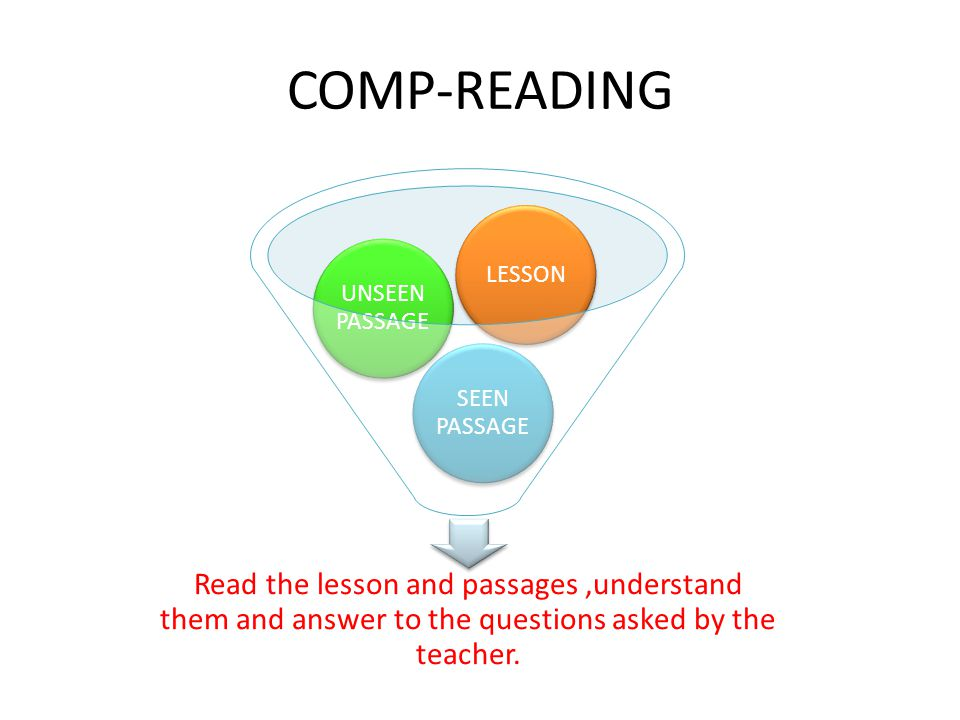 COMP-READING Read the lesson and passages,understand them and answer to the questions asked by the teacher. SEEN PASSAGE UNSEEN PASSAGE LESSON