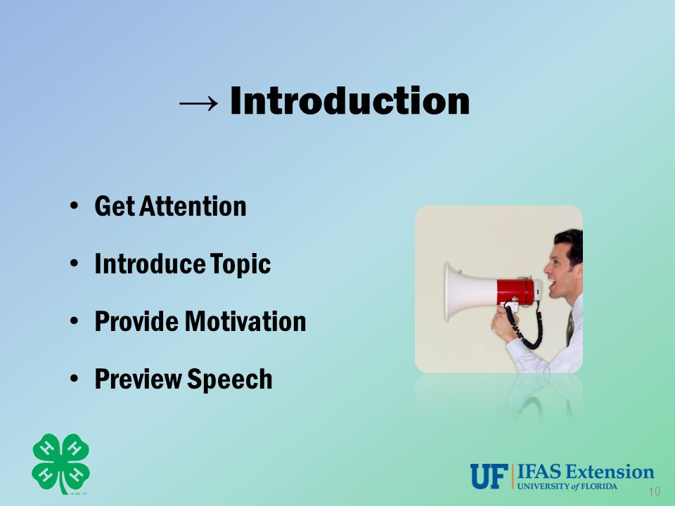 → Introduction Get Attention Introduce Topic Provide Motivation Preview Speech 10