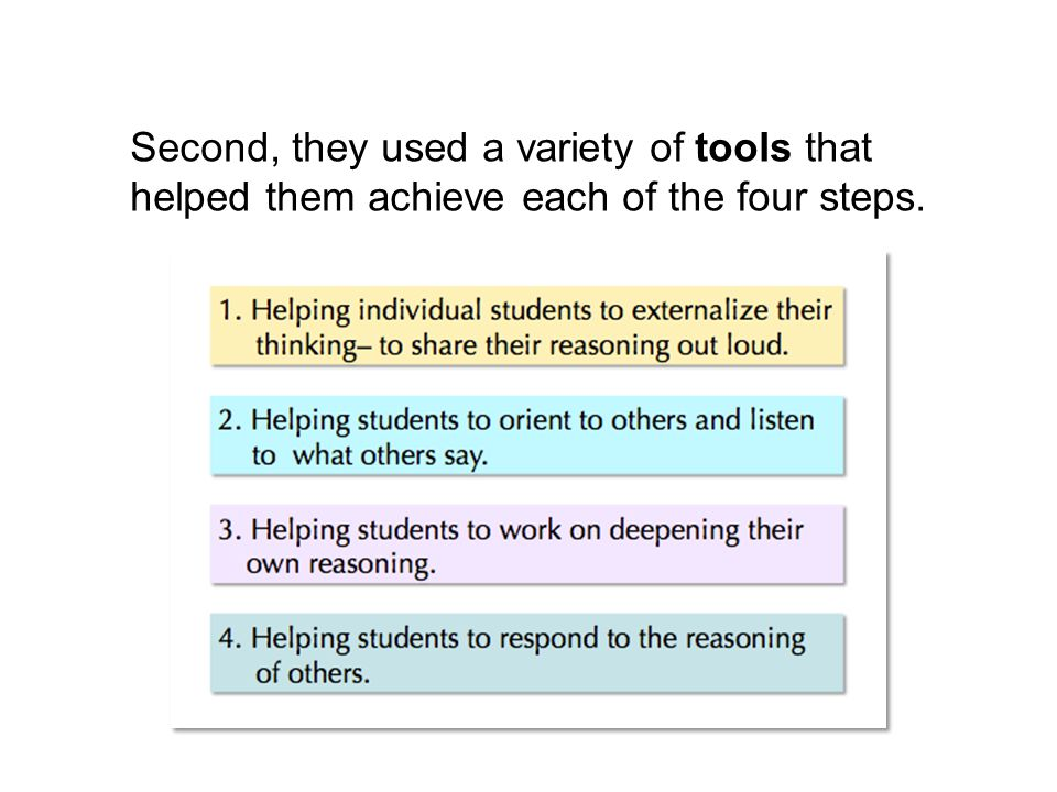 Second, they used a variety of tools that helped them achieve each of the four steps.