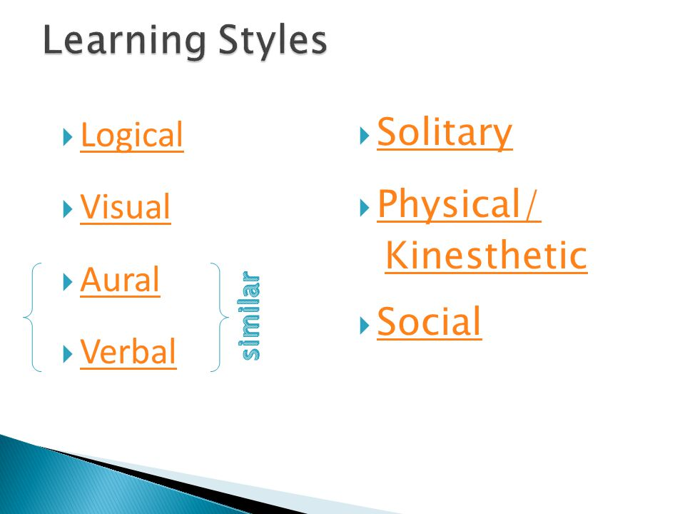  Logical Logical  Visual Visual  Aural Aural  Verbal Verbal  Solitary Solitary  Physical/ Physical/ Kinesthetic  Social Social