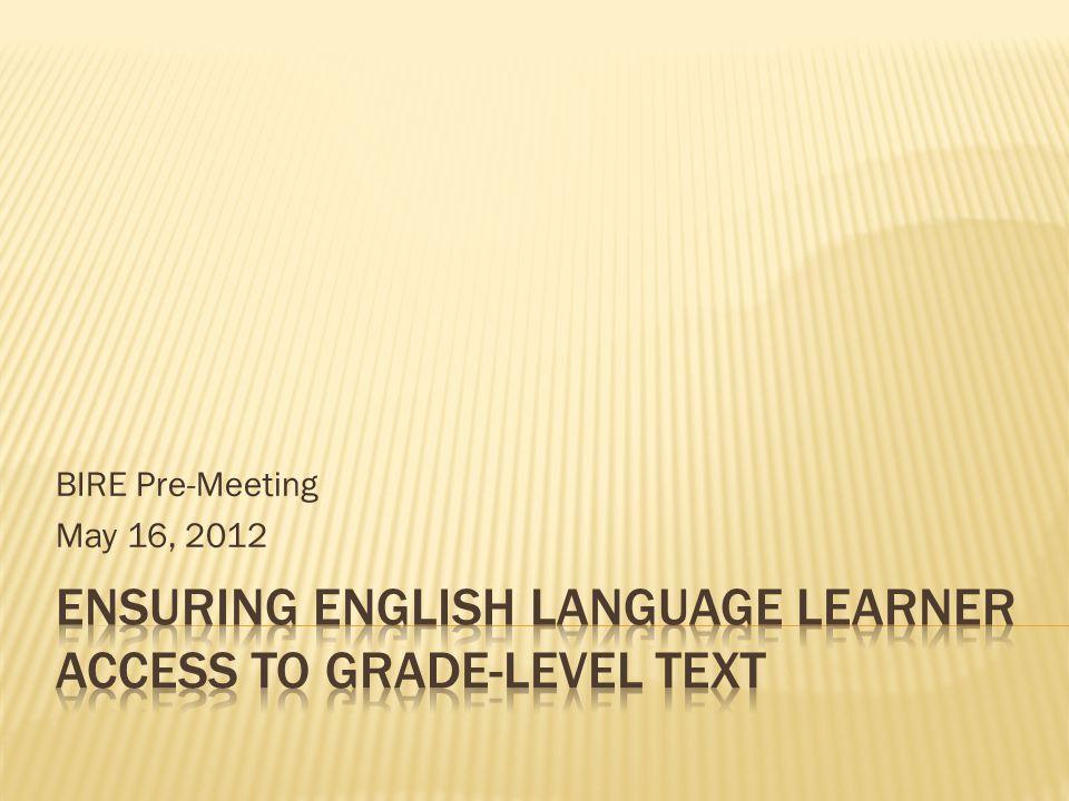 BIRE Pre-Meeting May 16, 2012