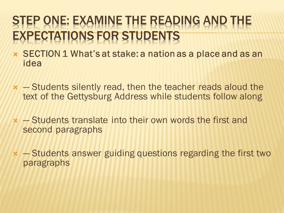  SECTION 1 What's at stake: a nation as a place and as an idea  — Students silently read, then the teacher reads aloud the text of the Gettysburg Address while students follow along  — Students translate into their own words the first and second paragraphs  — Students answer guiding questions regarding the first two paragraphs