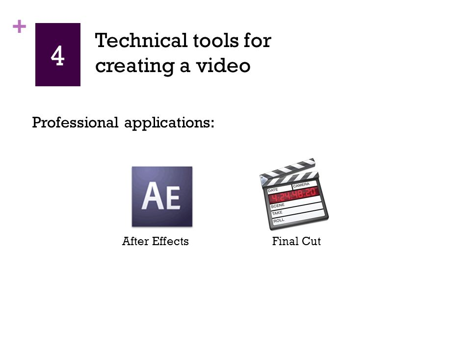 + 4 Professional applications: After EffectsFinal Cut Technical tools for creating a video