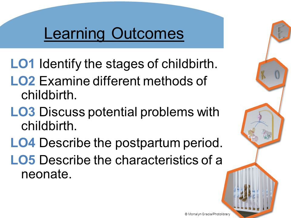 Learning Outcomes LO1 Identify the stages of childbirth. LO2 Examine different methods of childbirth. LO3 Discuss potential problems with childbirth.