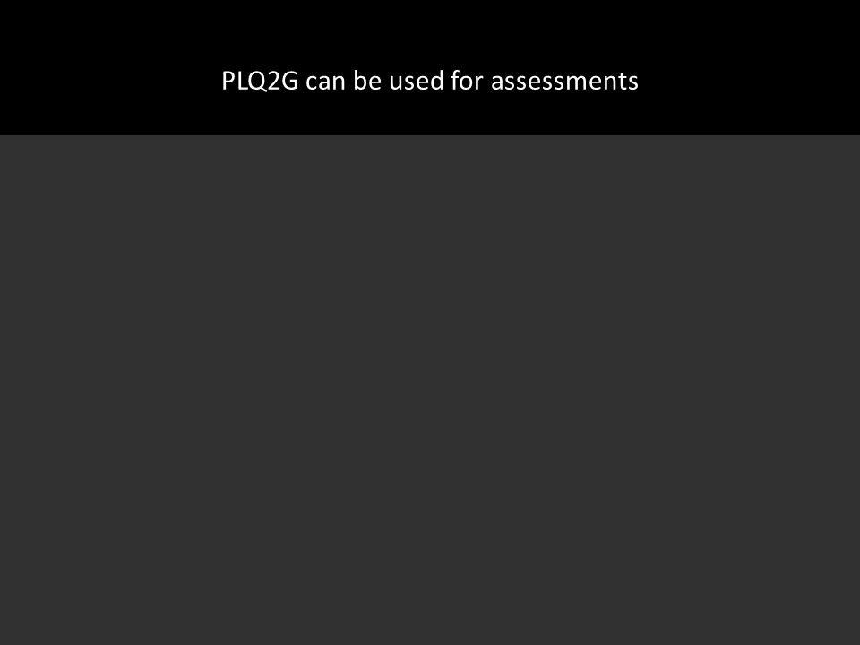 PLQ2G can be used for assessments