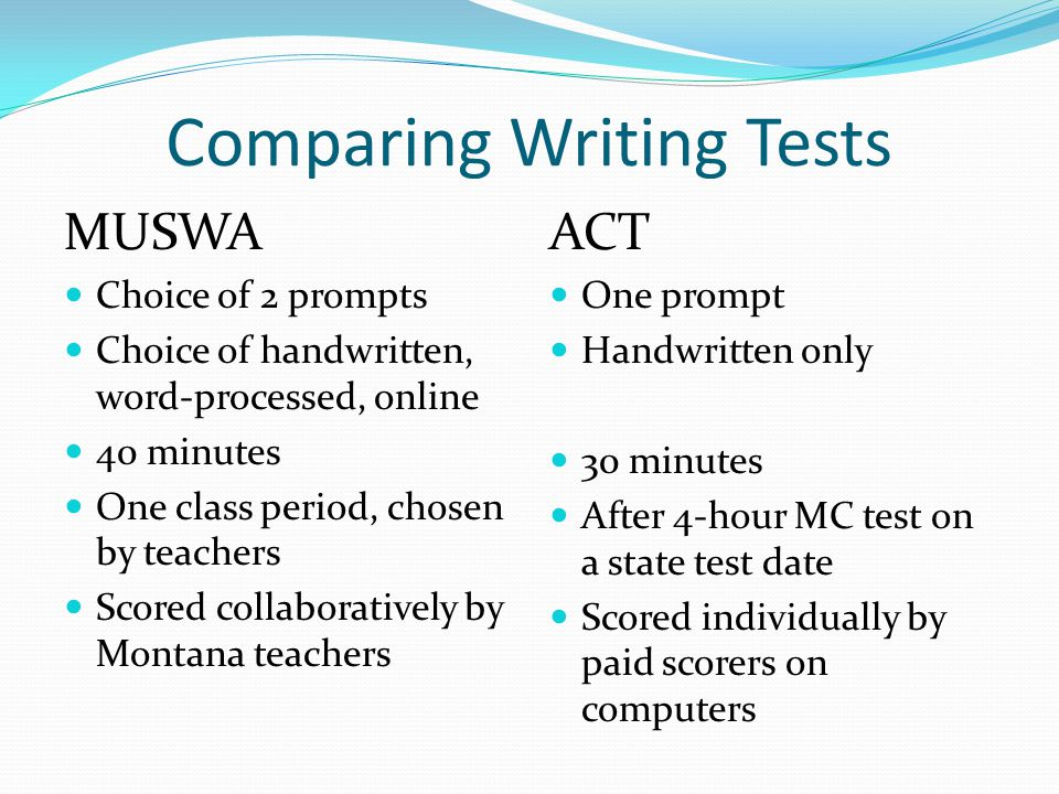 Comparing Writing Tests MUSWA Choice of 2 prompts Choice of handwritten, word-processed, online 40 minutes One class period, chosen by teachers Scored collaboratively by Montana teachers ACT One prompt Handwritten only 30 minutes After 4-hour MC test on a state test date Scored individually by paid scorers on computers
