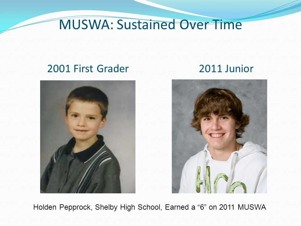 MUSWA: Sustained Over Time 2001 First Grader 2011 Junior Holden Pepprock, Shelby High School, Earned a 6 on 2011 MUSWA