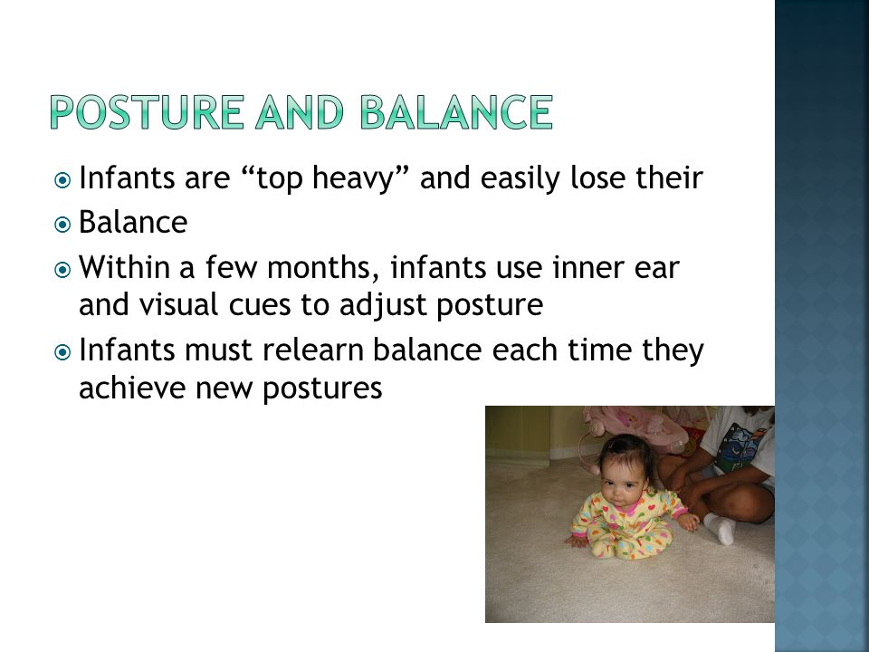 """ Infants are """"top heavy"""" and easily lose their  Balance  Within a few months, infants use inner ear and visual cues to adjust posture  Infants mus"""
