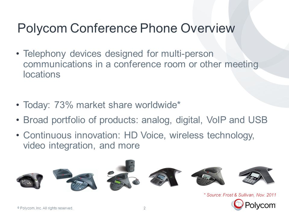 © Polycom, Inc. All rights reserved. The Case For Polycom Conference Phones