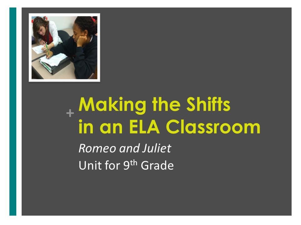 + Making the Shifts in an ELA Classroom Romeo and Juliet Unit for 9 th Grade