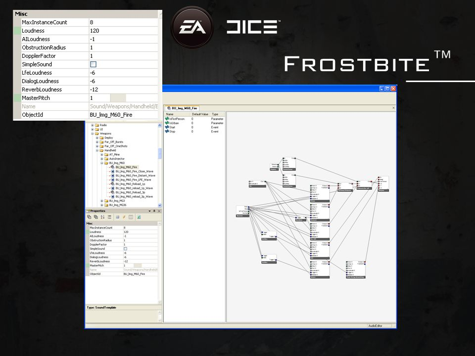 Frostbite™ DICE's game engine Frostbite™ Tight system integration, audio one of the core components Destruction integral part of the engine Developed for Battlefield: Bad Company™and to be used by future projects at DICE
