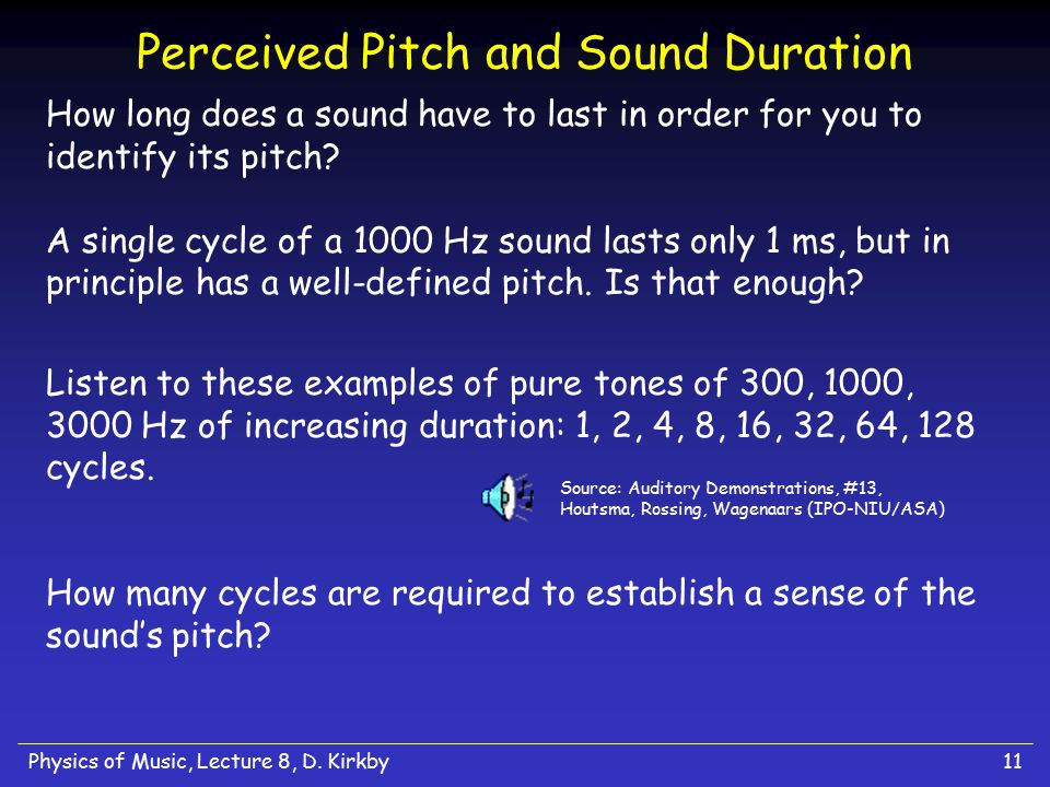 Physics of Music, Lecture 8, D. Kirkby11 Perceived Pitch and Sound Duration How long does a sound have to last in order for you to identify its pitch?
