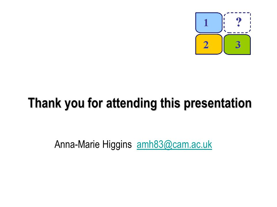 Thank you for attending this presentation Anna-Marie Higgins amh83@cam.ac.ukamh83@cam.ac.uk