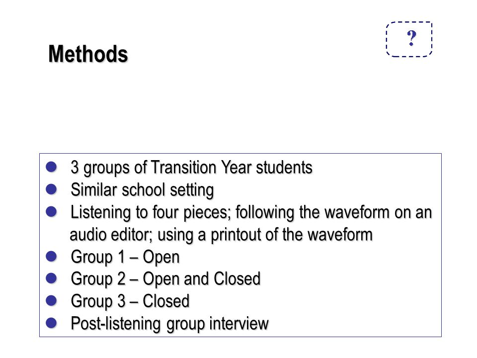 Methods 3 groups of Transition Year students 3 groups of Transition Year students Similar school setting Similar school setting Listening to four pieces; following the waveform on an Listening to four pieces; following the waveform on an audio editor; using a printout of the waveform audio editor; using a printout of the waveform Group 1 – Open Group 1 – Open Group 2 – Open and Closed Group 2 – Open and Closed Group 3 – Closed Group 3 – Closed Post-listening group interview Post-listening group interview