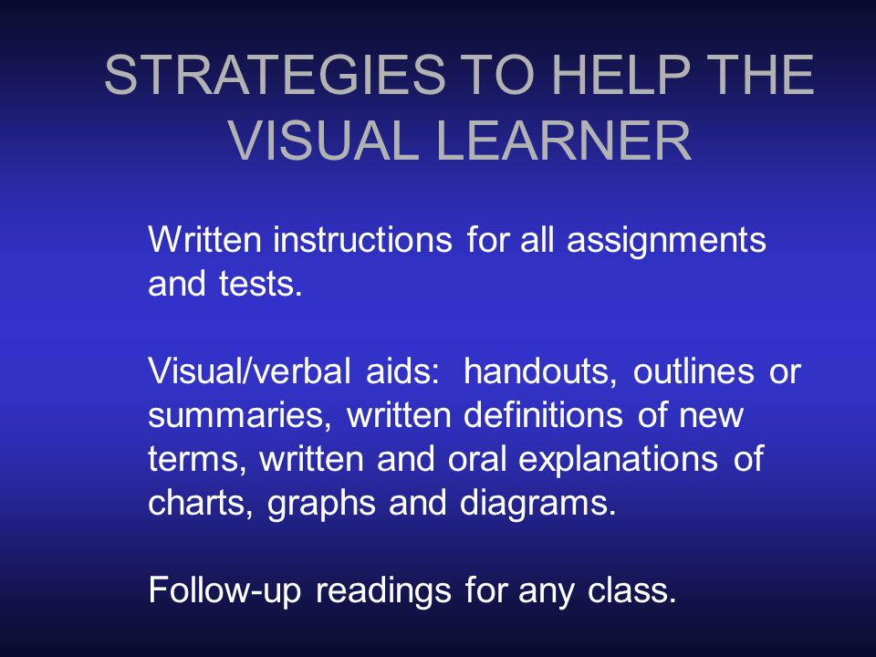 TEACHING STRATEGIES TO HELP THE VISUAL LEARNER TEACHING STRATEGIES TO HELP THE AUDITORY LEARNER Tactile Learner: TEACHING STRATEGIES TO HELP THE TACTILE LEARNER STRATEGIES TO HELP THE VISUAL LEARNER Written instructions for all assignments and tests.