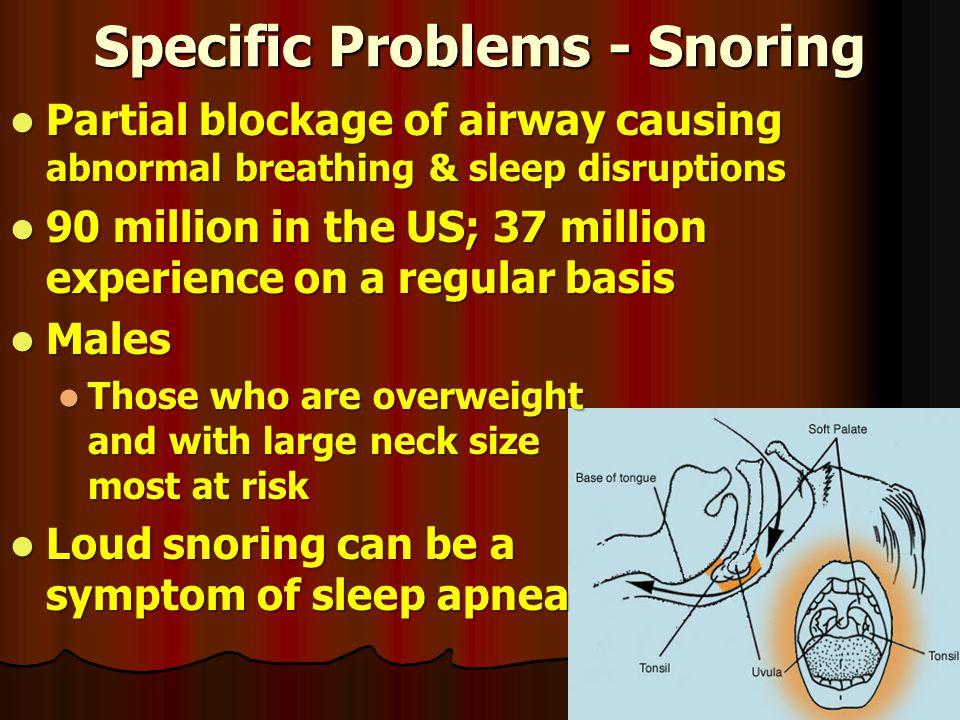 Specific Problems - Snoring Partial blockage of airway causing abnormal breathing & sleep disruptions Partial blockage of airway causing abnormal brea
