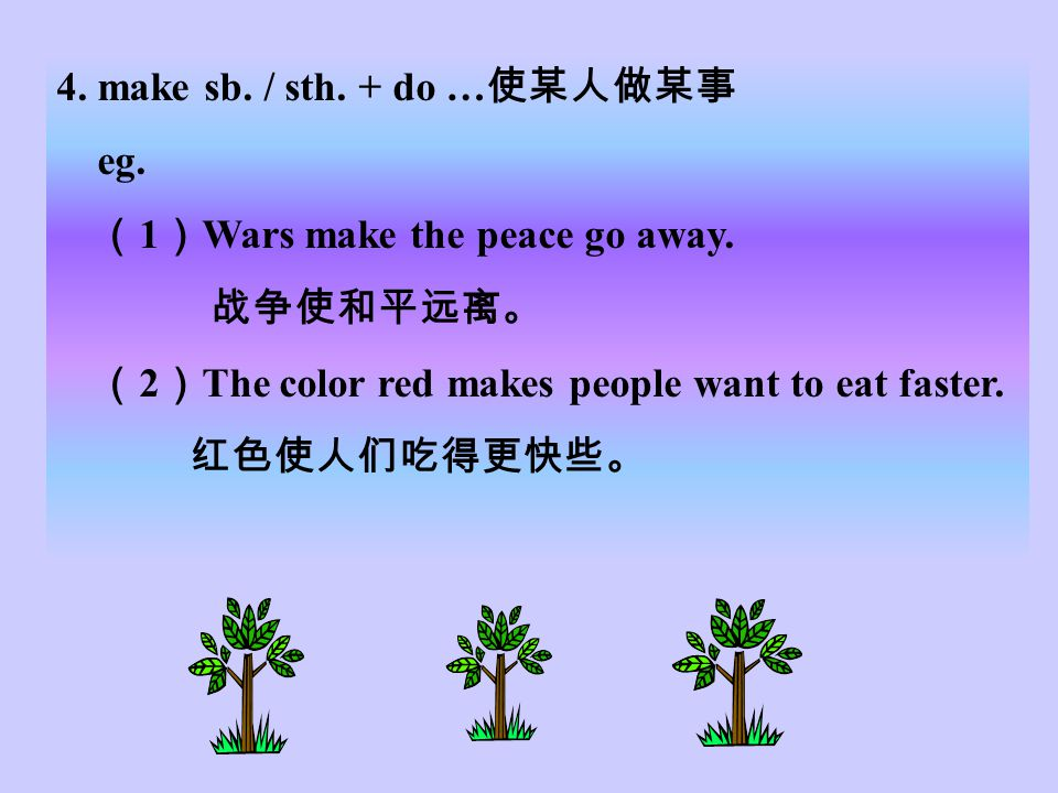 1. make +n. make food 做饭 make a plane 做飞机 make the bed 铺床 make money 赚钱 2. I just made it to my class. ( Unit 9 )我恰好赶到班级。 ( arrived in time ) 3. make